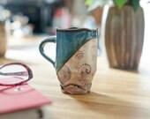 Handmade coffee mug - Rustic ceramic mug - Fusion Style Asymmetrical Coffee Mug