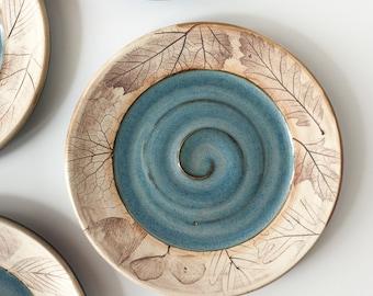 Tapas Plate - Dessert Plate - Blue Ceramic Plate Woodland or Beachcomber - Luncheon Plate
