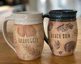 Happy Place Mug, Handmade Pottery, Treehugger (Leaves) or Beach Bum (Shells), Cobalt Blue or Creamy White Glaze, Stoneware Mom Dad Grad Gift