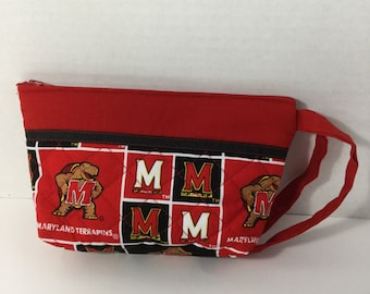 Cosmetic Bag - Wallet - Pencil Case - Zippered Pouch -  NHL Toiletry Bag - Maryland Terps Bag - Makeup Bag - Travel Bag - Pencil Case