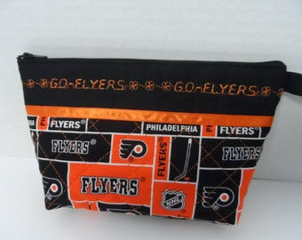NHL Toiletry Bag - Cosmetic Bag - Clutch - Zippered Pouch - Makeup Bag - Travel Bag - Wristlet - Flyers Bag - Quilted Bag - Zippered Wallet