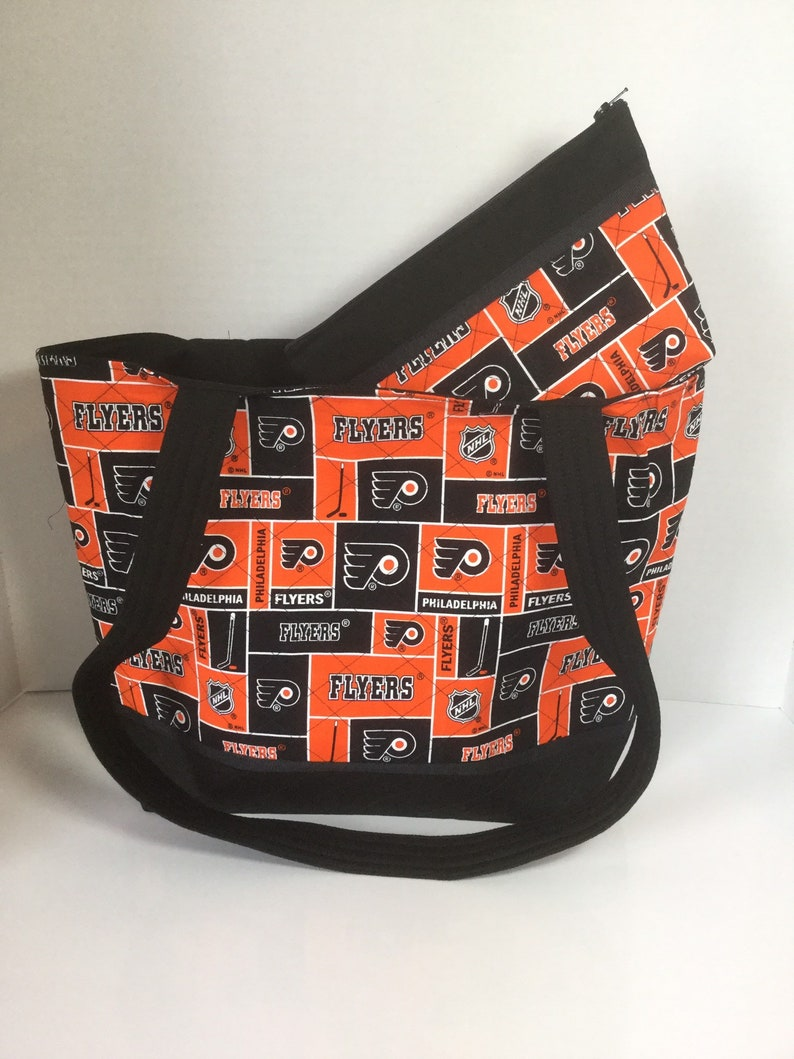 separation shoes 2a91d 66571 Philadelphia Flyers Tote - Quilted Tote - Flyers Tote - Shopping Bag -  Flyers Purse - Flyers Cosmetic Bag - NHL Tote - Philadelphia Flyers