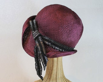 020e92d919c Custom Women s Straw Cloche in Mulberry ~ Phryne ~ 1920s glamour