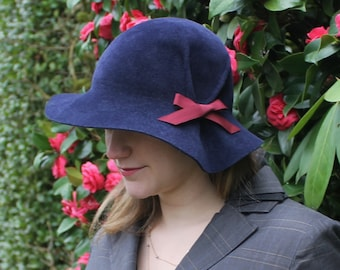 Custom Pleated Cloche Hat in Velour Felt  ~ Lana ~ rain hat, 30s, vintage inspired ~ handmade by Bonnet, local Portland millinery