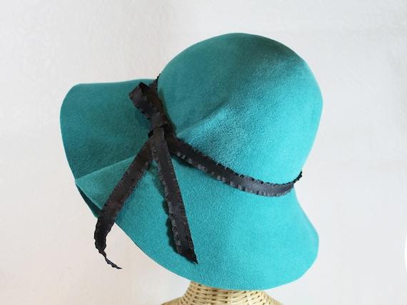 9128b50d592 Wide Brim Hat in Teal Blue Velour Felt Marlene women s