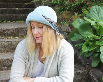 Light Blue Cloche Hat in Velour Felt ~ Edith ~ 1920s, Downton Abbey, rain hat, flapper ~ handmade by Bonnet, local Portland millinery