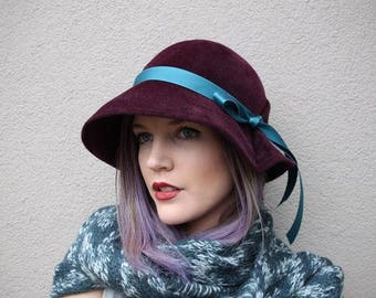 Custom Brimmed Cloche Hat in Velour Felt  ~ Lana ~ rain hat, 30s, Bergman ~ handmade by Bonnet, local Portland millinery