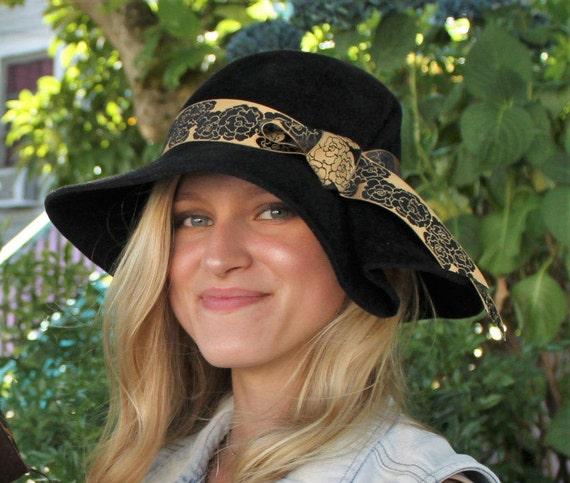 bafe26bc499 Custom Wide Brim Hat in Velour Felt Marlene women s