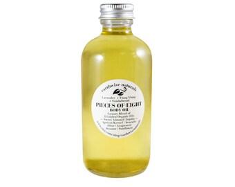 PIECES of 8 | Body Oil | Custom Golden Blend | Organic | Vegan | 8 & 4 Ounce Options