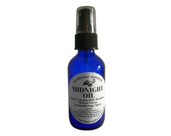 MIDNIGHT OIL(Tm) | Study + Impossible Deadline Focus + Alertness Organic Aromatherapy Spray | 2 oz
