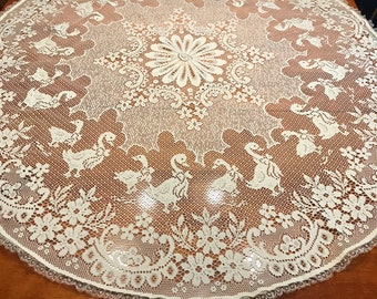 Vintage 48 Inch Round Ivory Lace Dining Luncheon Tablecloth By MarlenesAttic