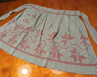 Apron, Vintage 1960's Black Gingham kitchen Apron with Red Cross Stitch design by MarlenesAttic