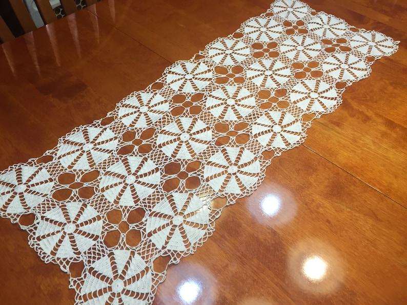 vases flowers by MarlenesAttic home decor Vintage Ivory Hand crochet lace table runner dresser scarf for housewares