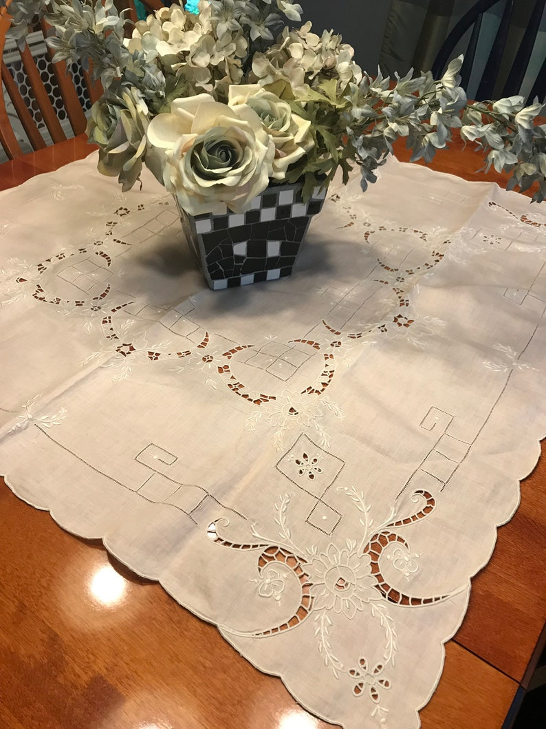 very shabby chic by MarlenesAttic Vintage Pink and White embroidered Dining Tablecloth for housewares and home decor