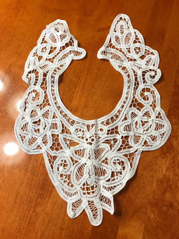 vintage white battenburg lace collar for sewing victorian etsy