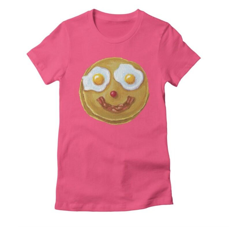 3de89183 Mr. Pancake Women's pink T shirt happy pancake with fried | Etsy