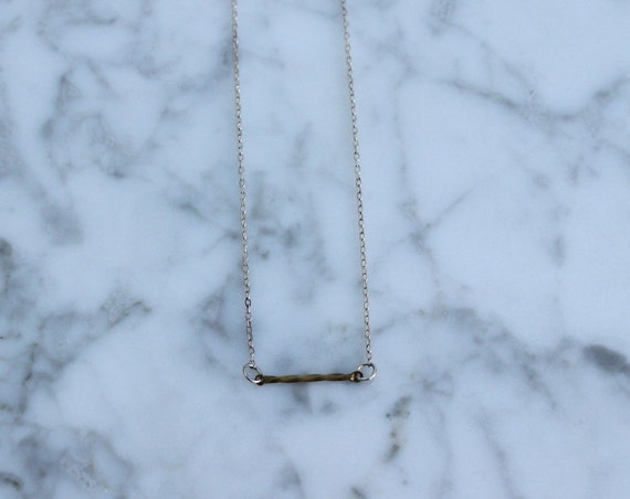 Very Simple Minimal Twisted Brass Bar on Delicate Sterling Silver Chain