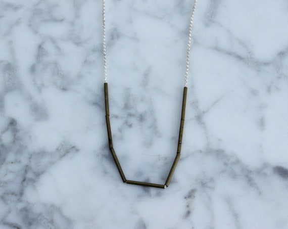 Vintage Brass Tubes on Delicate Sterling Silver Chain
