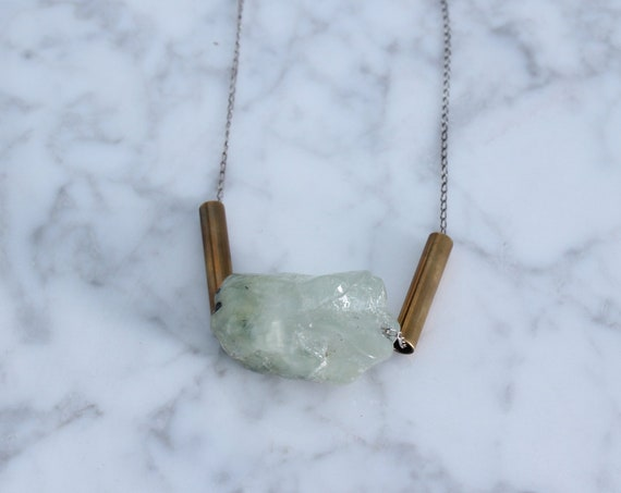 Green Calcite & Vintage Brass on Delicate Sterling Silver Chain Necklace