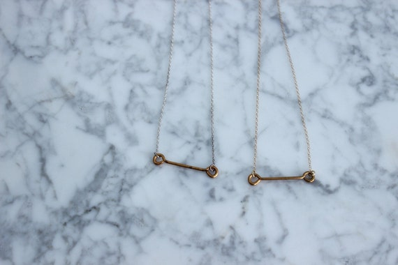 Raw Brass Barbell on Delicate Chain
