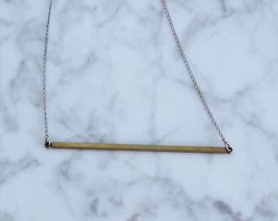 Vintage long brass bar on sterling silver chain