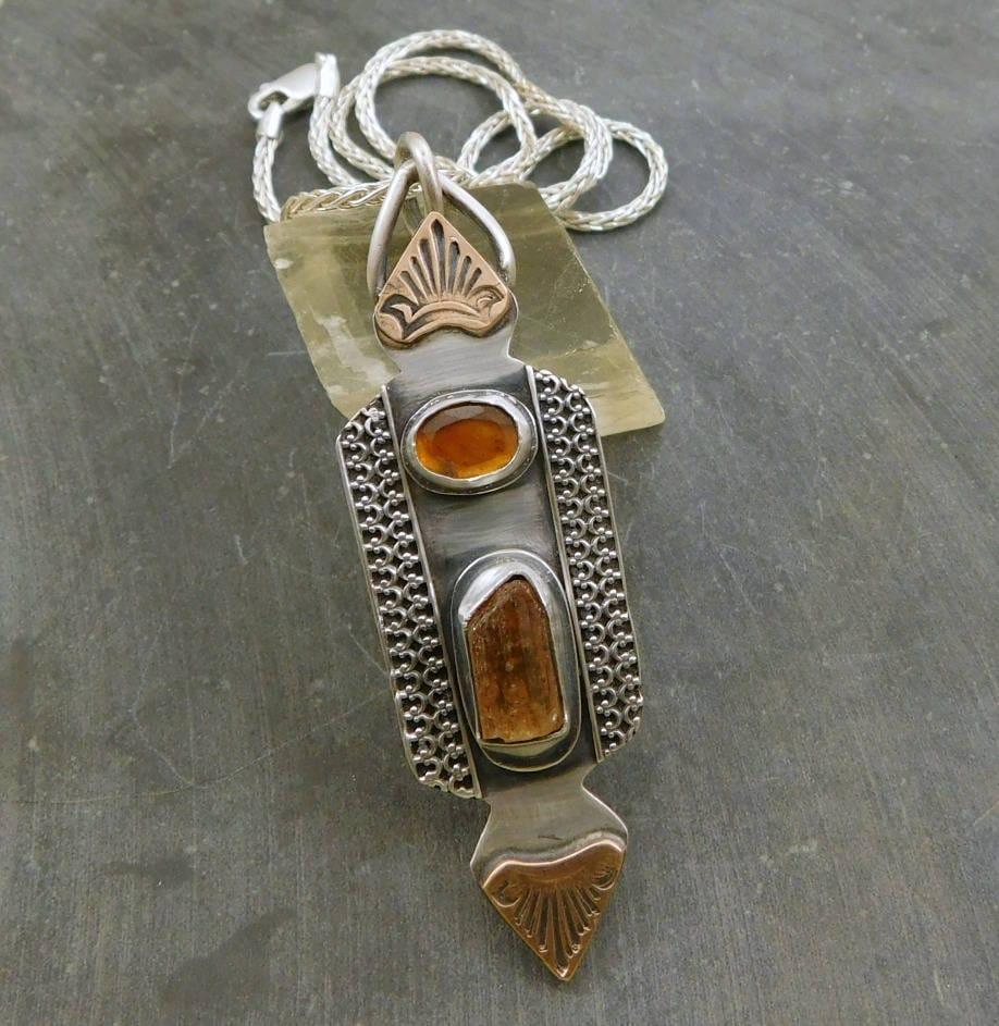 Imperial Topaz Raw Crystal Tourmaline Multi Stone Pendant ...Raw Imperial Topaz