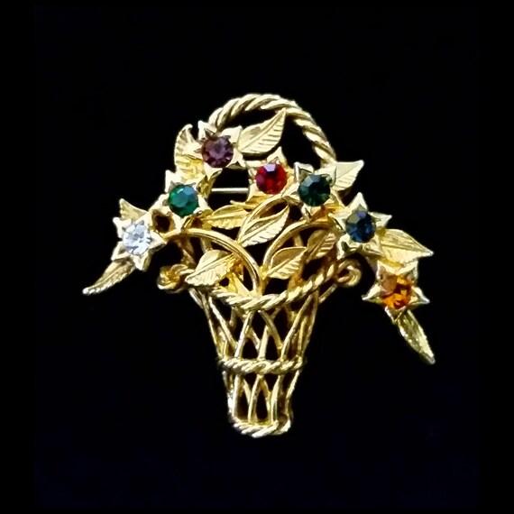 Vintage Joan Rivers Gold Jeweled Basket Brooch Pin
