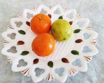 Vintage Milk Glass Plate, White milk Glass Plate, Hand Painted Milk Glass, White Scalloped Dish