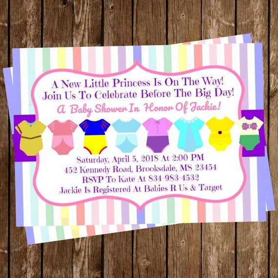Disney Princess Baby Shower Invitation Onesie Download 5 X 7