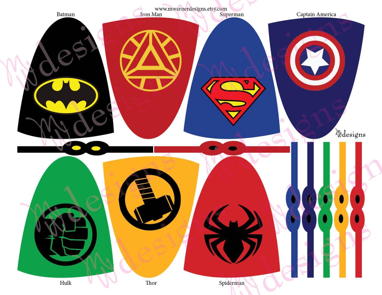 Superhero Lollipop Capes And Masks Superhero Party Instant Etsy