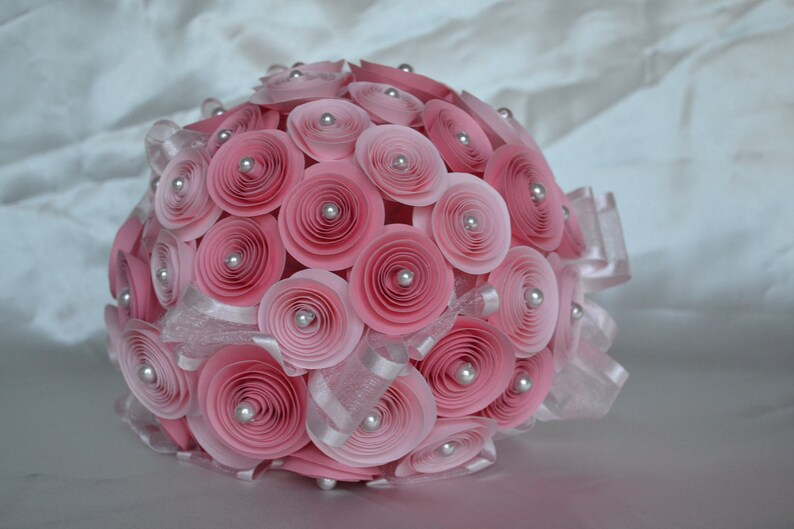 Wedding Bouquet Paper Pink with Pearls image 0
