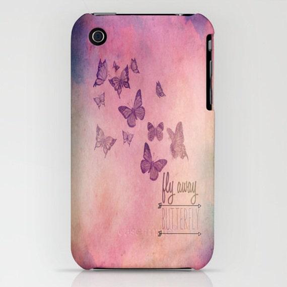 Citation inspirante papillon Design Samsung S4, Iphone 3gs, 3g, 4, 4 s, 5, 5C photographie Phone Case « Fly Away papillon »