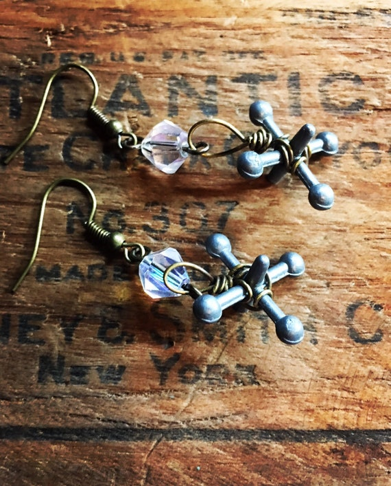 Repurposed vintage metal jacks earrings with ab crystal