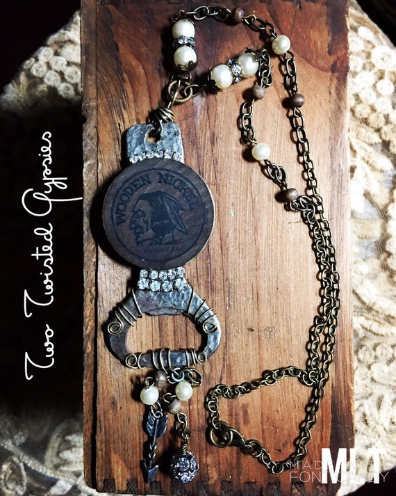 Upcycled Vintage Bottle Opener, Wooden Nickle, Black and wooden beading, OOAK, one of a kind, unique necklace, assemblage necklace.