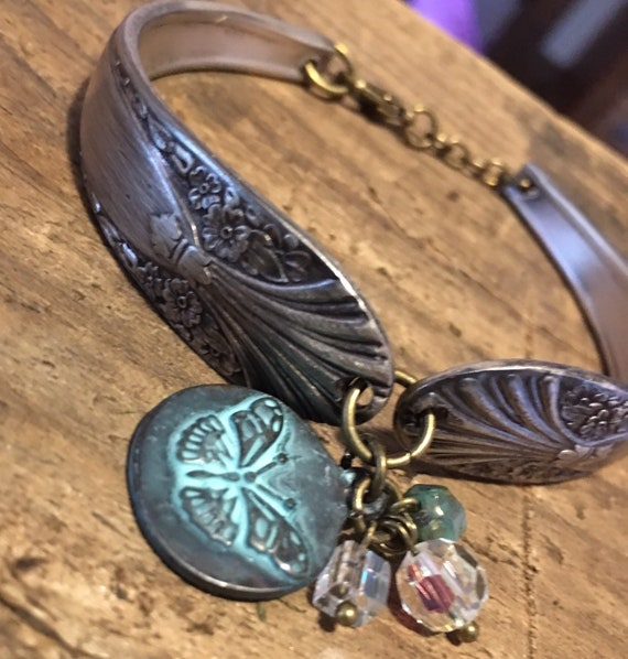 Unique Vintage Spoon Handle, Flatware Bracelet with butterfly charm and shades of teal blue and AB Swarovski crystal