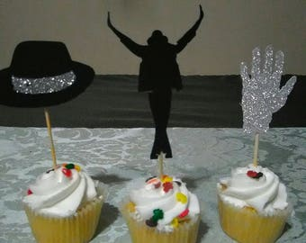 Michael Jackson Cupcake Toppers King Of Pop Party Decoration 12 In A Set