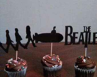 The Beatles Cupcake Toppers, Beatles Party, John, Paul, George, Ringo, 12 toppers in a set