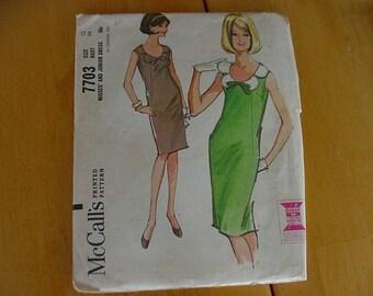 "Vintage 1960s McCalls Pattern 7703,  Misses Dress Slim Dress with Darts, Low Back Pleat, Size 12,  Bust 32"""