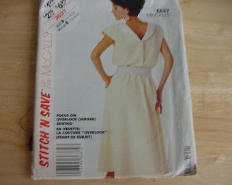 Vintage 1980s McCall's Stitch 'n Save Pattern 3637, Misses' Pullover, Back Buttoned Dress, Size 12-16, Uncut, Easy McCalls