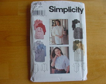 UNCUT 1990s Simplicity Pattern 9818 Misses' Loose Fitting Shirt, Shirt Tail Hem, Multiple Size 6-8-10