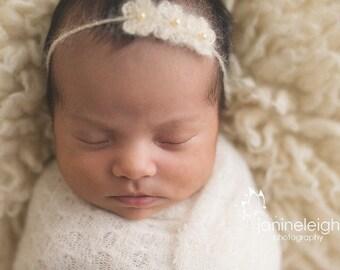 Baby Headband, Newborn Headband, Wedding Halo, Flower Girl Headband, Baby Tie Headband, Baby Headband Flower, Daughter of the Bride, Ready