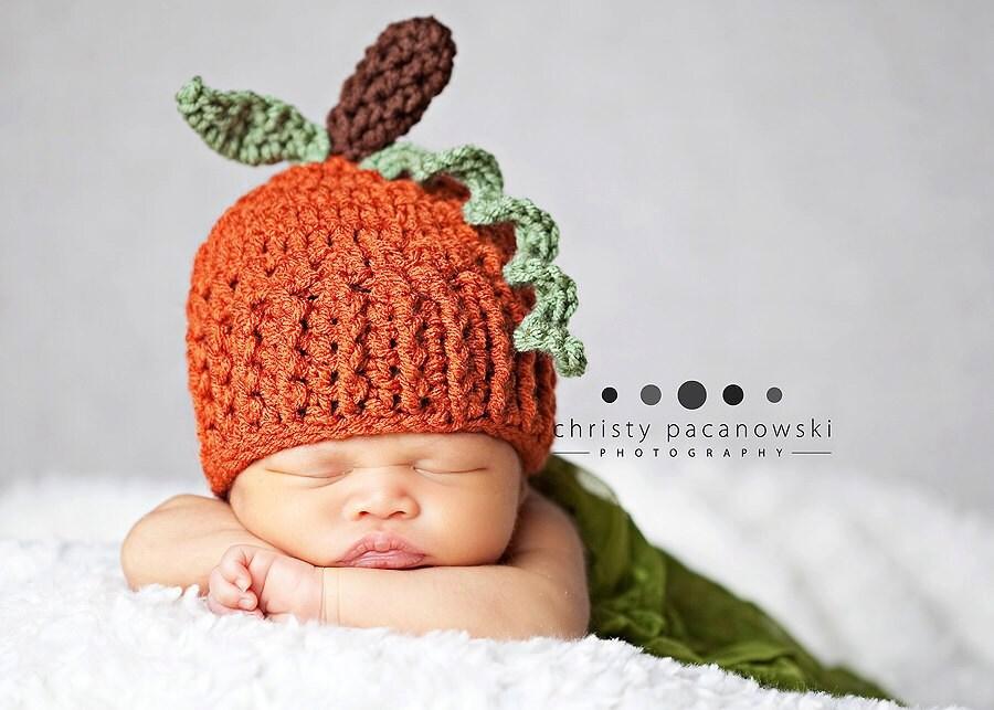 Crochet Pumpkin Hat   Newborn Pumpkin Hat   Baby Pumpkin  d05aa7cba47