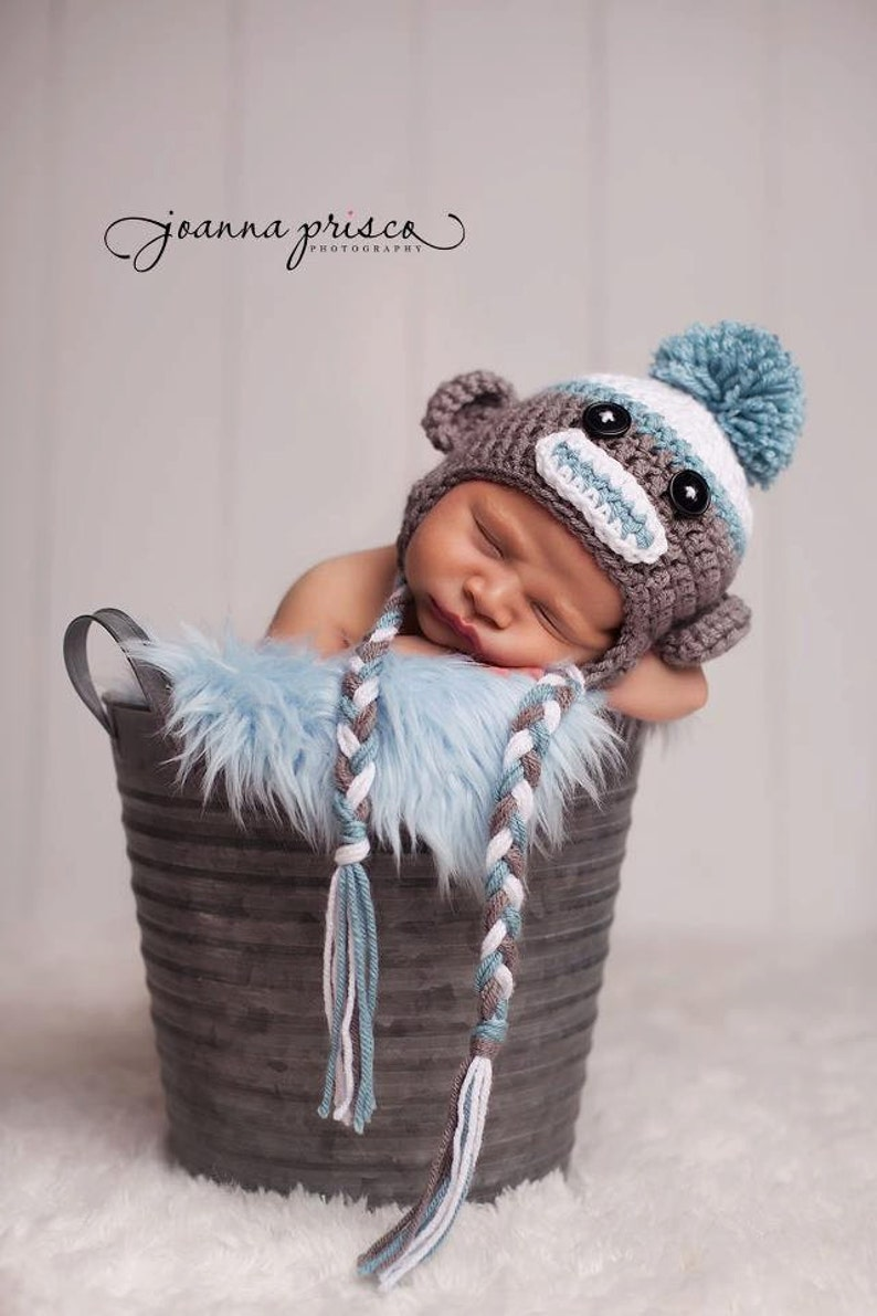 f2f72423d6f Sock Monkey Hat Sock Monkey Newborn Sock Monkey Hat Baby