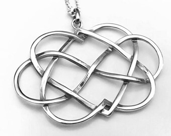 1114a05492 Endless Double Heart Infinity Necklace, Sterling Silver Heart Necklace,  Celtic Heart Necklace, Infinity Necklace, Double Heart Necklace
