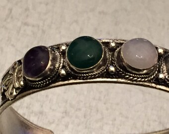 Bangle Bracelet - Tibetan Bracelet - Bohemian Bracelet - Silver Bangle - Stone Bangle