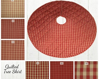 801b62a340 Quilted Christmas Tree Skirt / Red & Tan Plaid Check/ 25, 30, 35, 40 inch /  Rustic Country Farmhouse Decor / Lodge Cabin Cottage Tree Skirts