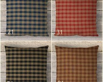 Catawba Plaid Pillow Covers Blue Red Black Brown Decorative Throw 14x14 16x16 18x18 20x20 22x22 24x24 Farmhouse Rustic Country Homespun