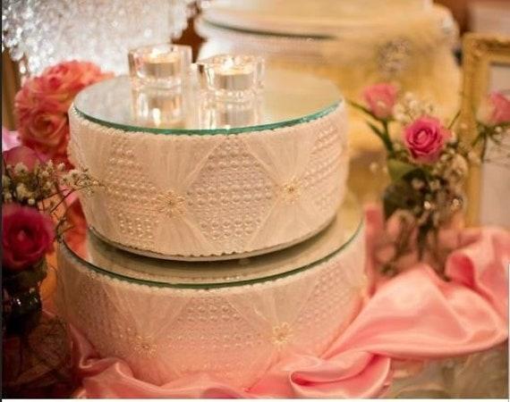 Hochzeitstorte Stehen Perle Und Spitze Entwurf Rund Oder Etsy