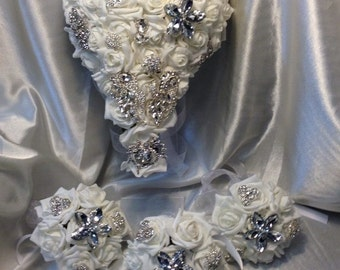 Cascading Rose & Brooch bouquet  and matching items  - all sold  separately