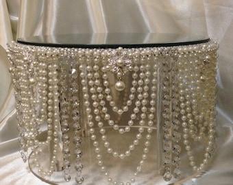 Pearl wedding cake stand, Pearl & crystal cake plate.
